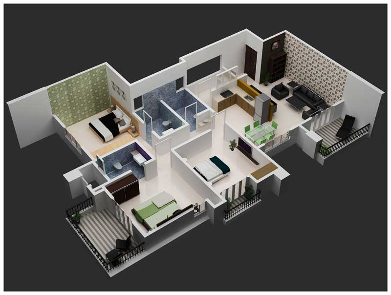 3bhk Home Design 3d Interior Views Joy Studio Design Gallery Best Design