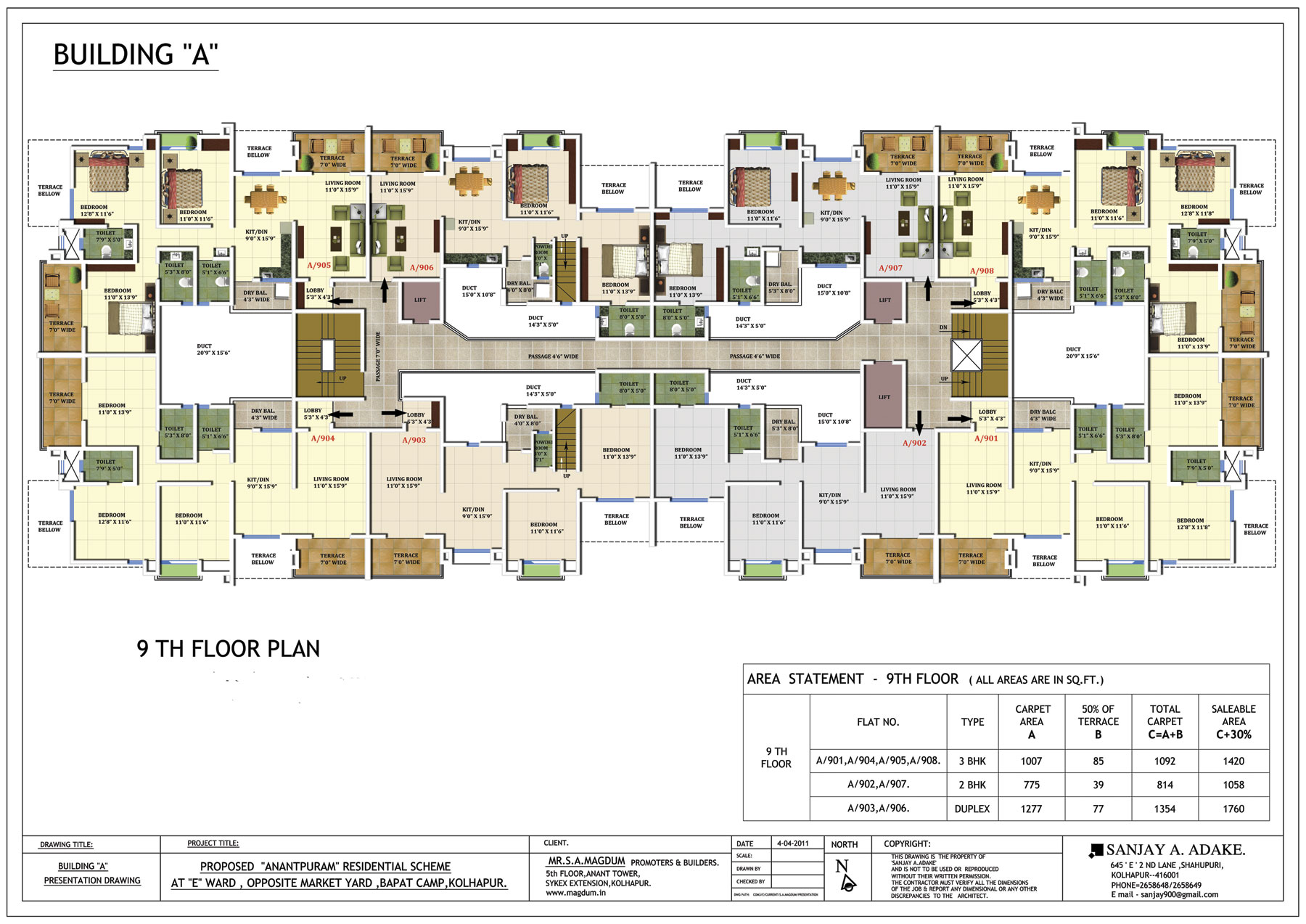 2 3 4 bhk flats pent house in bapat camp kolhapur for Building plans images